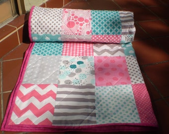 Handmade baby quilt, Baby girl quilt, Baby quilt, baby girl bedding, patchwork crib quilt, hot pink, teal, aqua, grey, chevron, Pink Lady