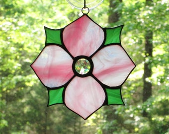 Stained Glass Suncatcher, Victorian Flower in Pink White Wispy, Green, Clear Jewel