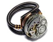 CYBER WEEK SALE - Steampunk Ring -  Antique Vintage Watch Movement