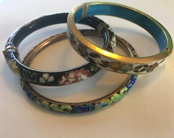 Three Cloisonne Bangle Bracelets