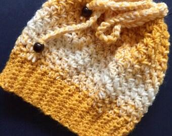 Adult Messy Bun Crochet Hat, Yellow, Mustard, Off-White, Self Striping Drawstring Opening Handmade Beanie