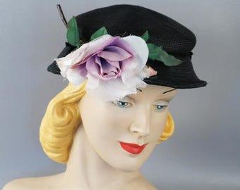 Vintage 1950s Hat Black Straw with Liliac Rose Sz 20