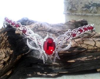 Ruby Red Crystal Elven Circlet Tiara Crown Celtic Weave