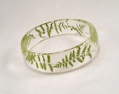 Real Tiny Dried Ferns Nature in Clear Resin Bracelet  Bangle Jewelry OOAK