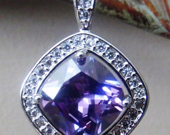 Purple and crystal pendant, square pruple pendant