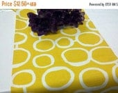 ON SALE NOW Yellow Table Runner  Sun yellow and White Geometric Circles Freehand Links Wedding Bridal Runner