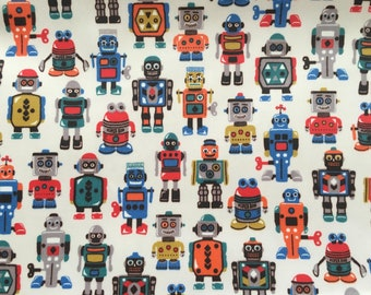 4521 - Cath Kidston Robots (Light Beige) Matt Oilcloth Waterproof Fabric - 28 Inch (Width) x 17 Inch (Length)