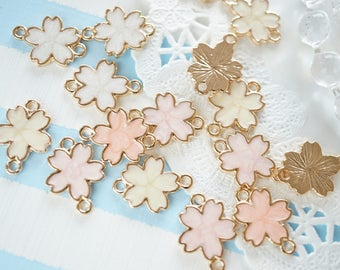 4 pcs Pearlized Sakura/ Cherry Blossom Double Loops Charm (13mm) AZ484