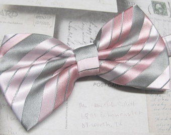 Mens Bow Tie. Silver Grey Pink Blush Stripes Bow Ties With Matching Pocket Square Option