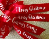Festive Merry Christmas Ribbon - Choose Your Color - 100 yards