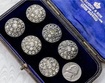 Set of Six Antique Edwardian Silver & Paste Buttons, Original Leather Case,Ideal for Costume Re-enactment,Theatricals (lot6 )