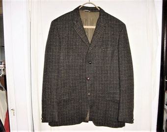 Vintage 50s Harris Tweed Hunting Jacket 40 L John Collier Windowpane Check Heavy Weight