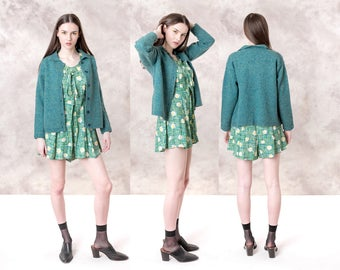 CARDIGAN SWEATER women TEAL ll Bean vintage Colorful colors green blue Small / Medium better Stay together