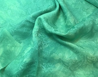 """Hand Dyed Spearmint Green PAISLEY - Silk Jacquard Fabric - 9""""x22"""" remnant"""