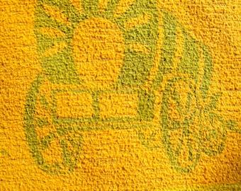 Vintage BEACON or ESMOND Blanket Cotton 1930s Green Yellow Cowboys Covered Wagon