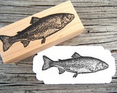 Fish Rubber Stamp //  Fishing Trout Rubber Stamp //  Handmade rubber stamp by BlossomStamps