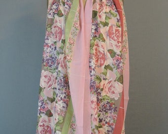 Vintage Pink & Green Floral Scarf, Chiffon 17 x 68 inches, Long Narrow Head or Neck scarf