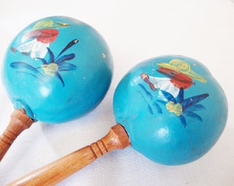 vintage maracas mexican painted blue gourd percussion rattles