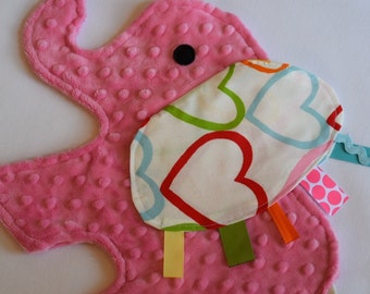 Sweet Heart Elephant Blanket Sensory Lovey - Icing On The Cupcake