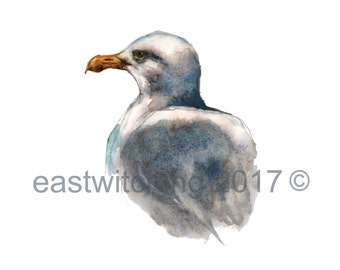 Watercolor SEAGULL PRINT - bird lover gift - ocean lover gift - realistic seagull