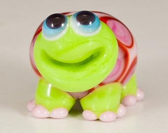 Pink and Red Valentine Turtle Lampwork Bead