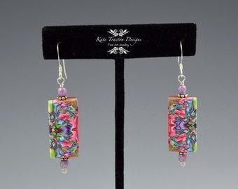 Natasha Tile Earrings, Lime Green, Purple, Pink, Polymer Clay