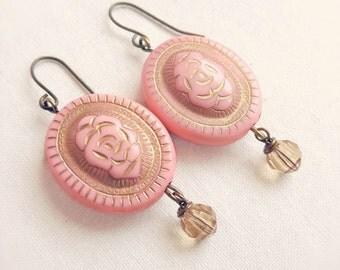 Rose earrings - pink rose drop earrings - Swarovski crystal - gold crystal - vintage style earrings