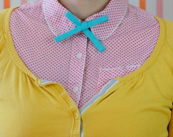 teal linen ladies bow tie // bias bow tie for women // xoelle lady tie