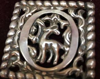 Vintage Mexican Sterling deer pin