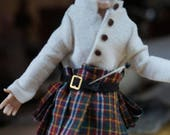 Custom order for Lindsey - White men's linen shirt - 1/12th scale dollhouse miniature fashion by CWPoppets