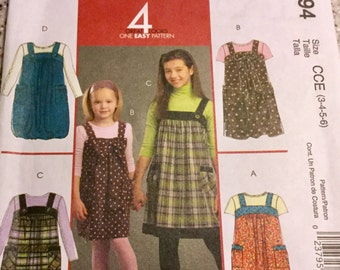 McCalls 5694 Girls Jumper with Pockets  Uncut, Size 3-6, Easy Sewing