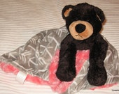 Security Blanket, baby blanket, luvi, lovie - black bear lovems