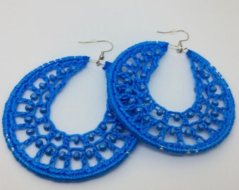 Crochet earrings, Beaded, silver, bohemian jewelry, crochet hoops, beaded earrings, crochet jewelry, hoop earrings, boho chic, blue