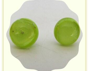 Lemon Lime Green Dichroic Earrings, Silver plated back,  Ear Post, Ear Stud Earrings ,Jewelry Accessories, # 1207