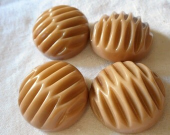 Set of 4 VINTAGE Tan Carved Celluloid BUTTONS