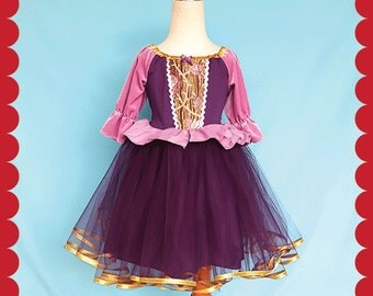 RAPUNZEL dress, Rapunzel costume, holiday dress, holiday princess dress, Lover Dovers,  special occasion dress, birthday dress