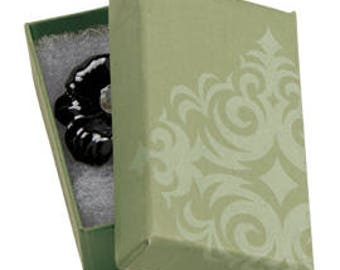 50 Pack of 2.5X1.5X7/8 Inch Size High Quality Sage Damask Cotton Filled Jewelry Presentation Boxes