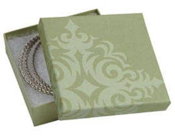50 Pack of 3.5X3.5X1 Inch Size High Quality Sage Damask Cotton Filled Jewelry Presentation Boxes