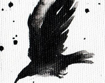 Mini ink painting on canvas 3,5x2,5in art card - abstract flying bird -crow art