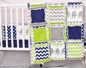 Elephant Baby Quilt Boy Nursery - Navy / Green / Grey Crib Bedding - Elephant Bedding - Safari Nursery Decor - Jungle Crib Bedding Rag Quilt