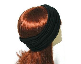 NAVY Blue 100% Organic Cotton Jersey Knit Head Wrap Navy Cotton Head Wrap Navy Headband Navy Yoga Head Wrap Pure Cotton Yoga Head Wraps