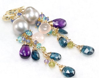 Grey Baroque Pearl earrings, Teal blue Kyanite, Amethyst, Peridot, Tanzanite, Pink Chalcedony, CZ pave vermeil hooks ... KACEE Earrings