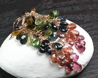 Multi colour Tourmaline cluster earrings, CZ pave Rose gold Vermeil ear wires ... MIREYA Earrings