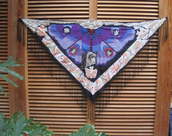 Geisha Butterfly SHAWL - Dramatic Asian Orient  - Upcycled & Altered Fabric Collage Folk Art-  myBonny