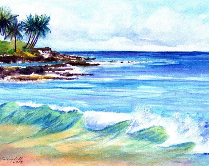Brennecke's Beach Kauai,  5x7 Art Print, Hawaiian art, seascapes, Hawaii Kauai Paintings, ocean waves, ocean beach paintings, watercolors