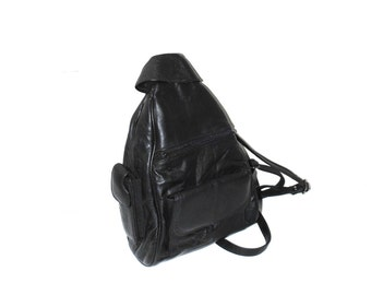 black leather backpack 90s minimalist triangle leather rucksack
