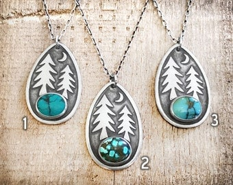 Moon trees necklace, silver trees jewelry, forest necklace, hiking jewelry, wilderness necklace, turquoise necklace, pine trees, camping