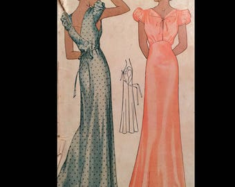 Vintage  30s Deco Era Puff Sleeve Gown Nightgown Negligee Sewing Pattern 9023 B32
