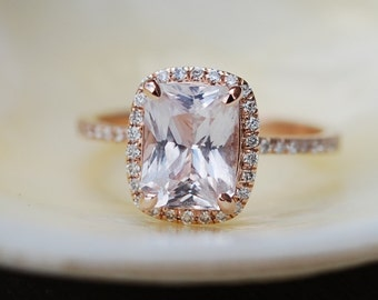 Peach Champagne Sapphire Engagement Ring 14k Rose Gold Diamond Engagement Ring 2.52ct Cushion Ice Peach