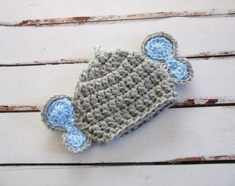 Baby Elephant Hat, Crochet Baby Hat, Boy Baby Hat, Baby Animal Hat, Newborn Hat, Baby Costume, Baby Photo Prop, Newborn Beanie, Gray